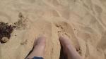 You gotta bury your feet into the soft sand! Good exfoliation too!